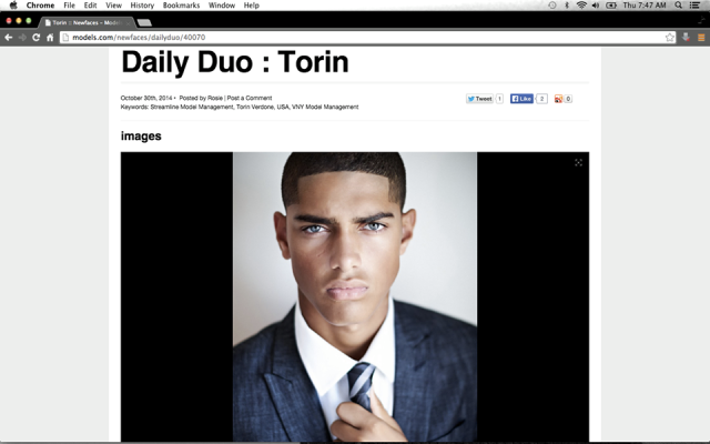 Our very own handsome Torin Verdone makes models.com daily duo hot new faces ....